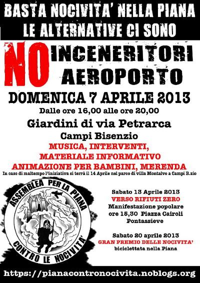Domenica 7 Aprile 2013: basta nocività nella Piana